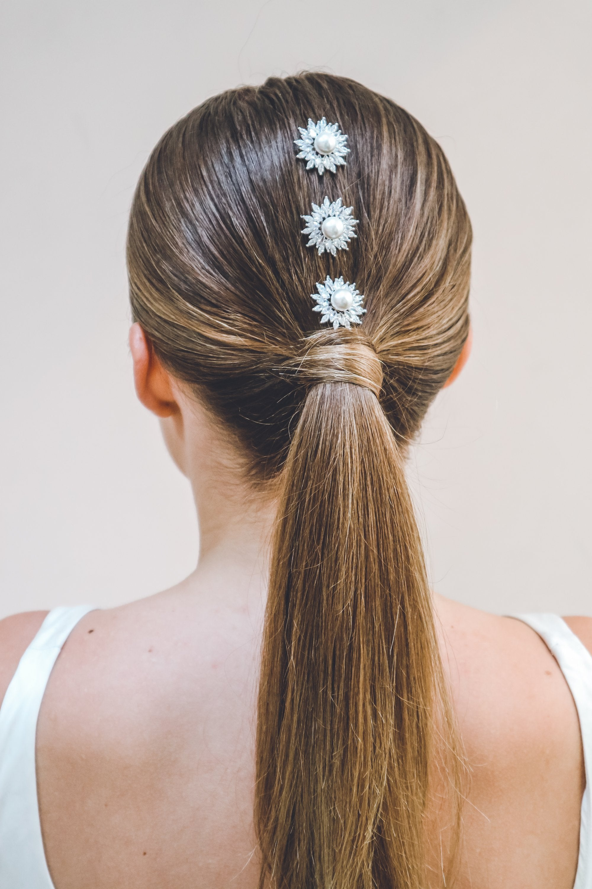 Crystal and Silver Bridal hair pins with pearl centre by Emmy London