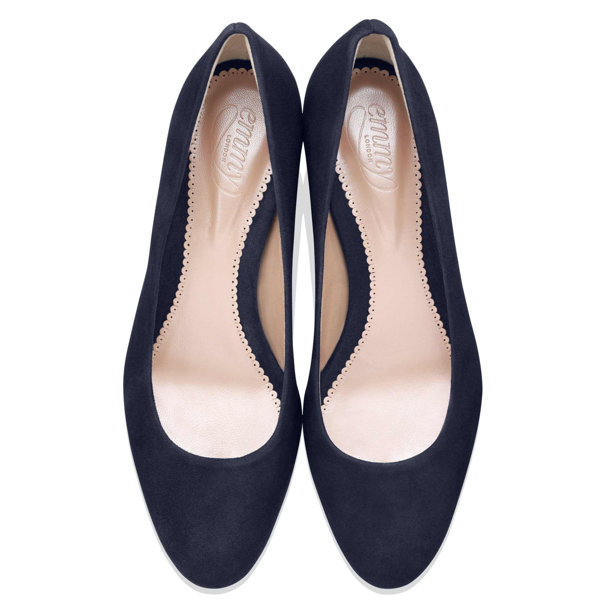 Block Heel Navy Court Shoes Designed By Emmy London