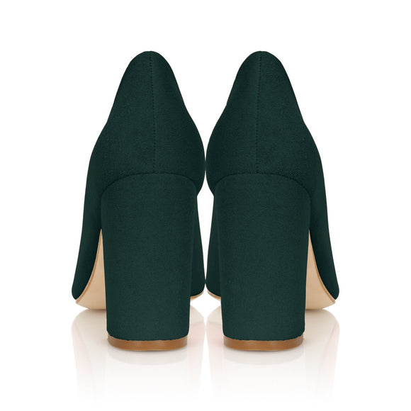 Green Suede Block Heel Shoes Designed By Emmy London