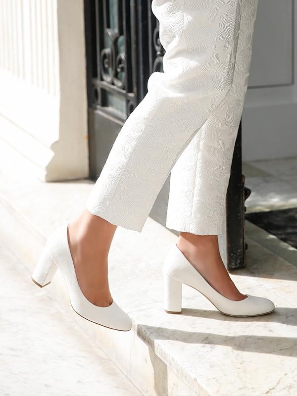 Mia Ivory Bridal Block Heel Court Shoes By Emmy London