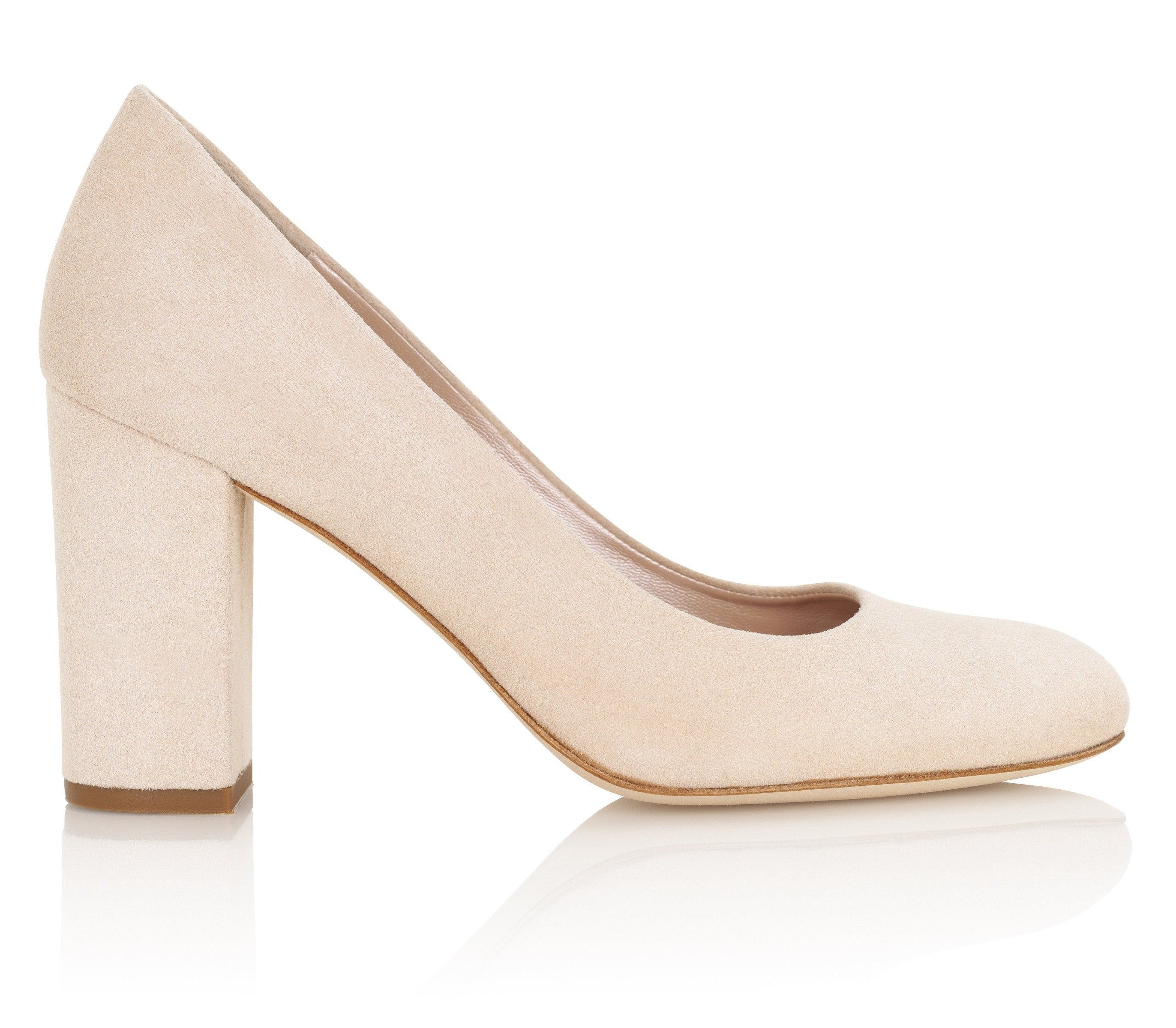 Mia Blush Luxury Block Heel Court Shoes By Emmy London