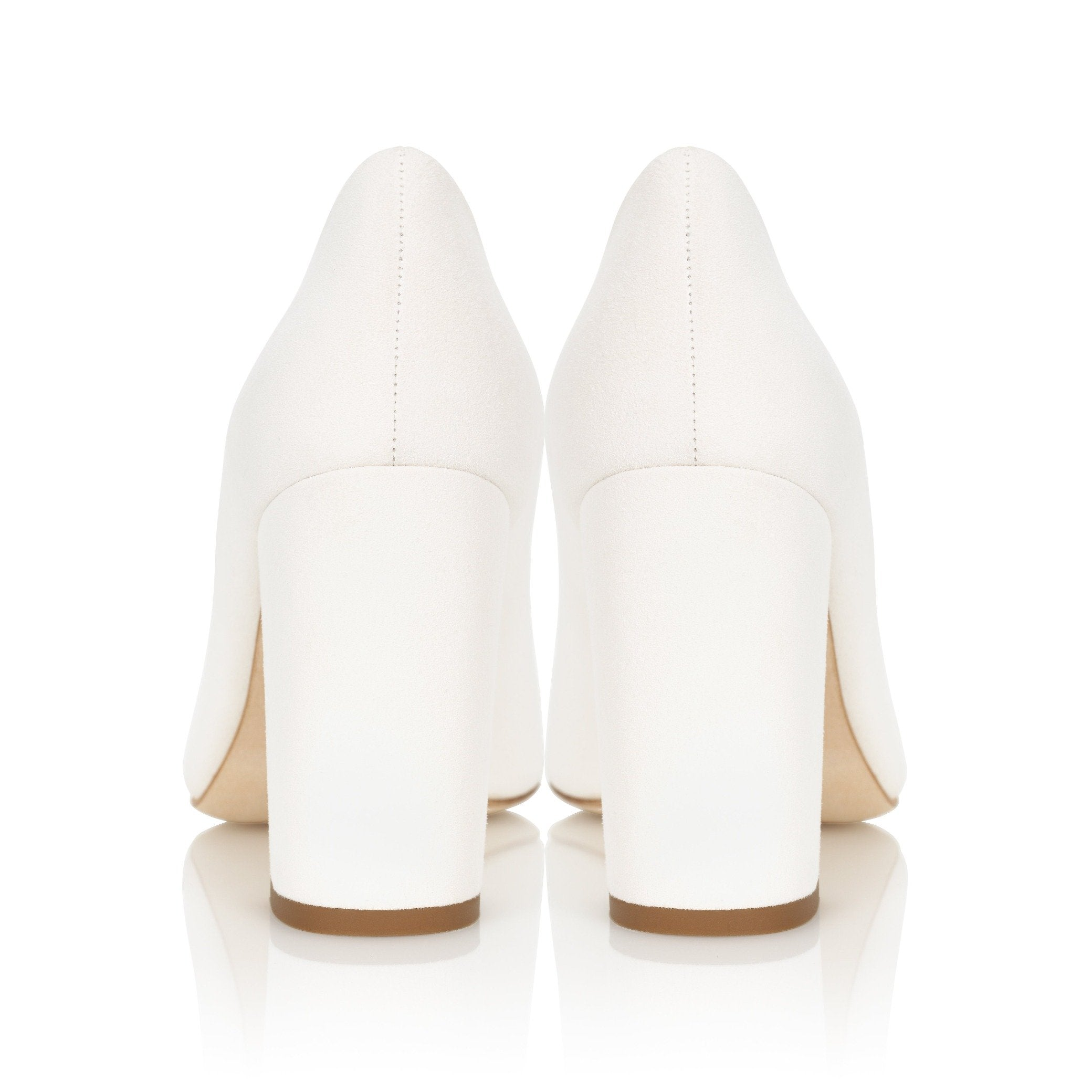 Mia Ivory Block Heel Suede Court Shoe By Emmy London Heel Shot