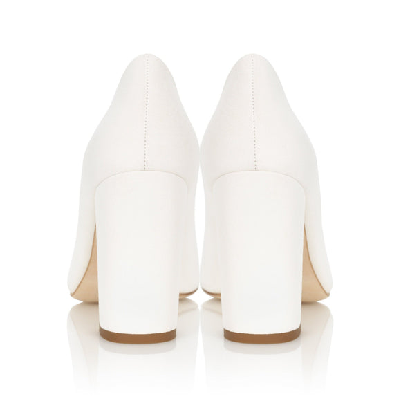 Mia Ivory Block Heel Suede Court Shoe By Emmy London