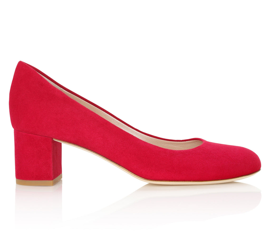 Red Suede Block Heel Designer Shoes Designed By Emmy London