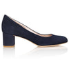 Navy Blue Suede Block Heel Designer Shoes By Emmy London