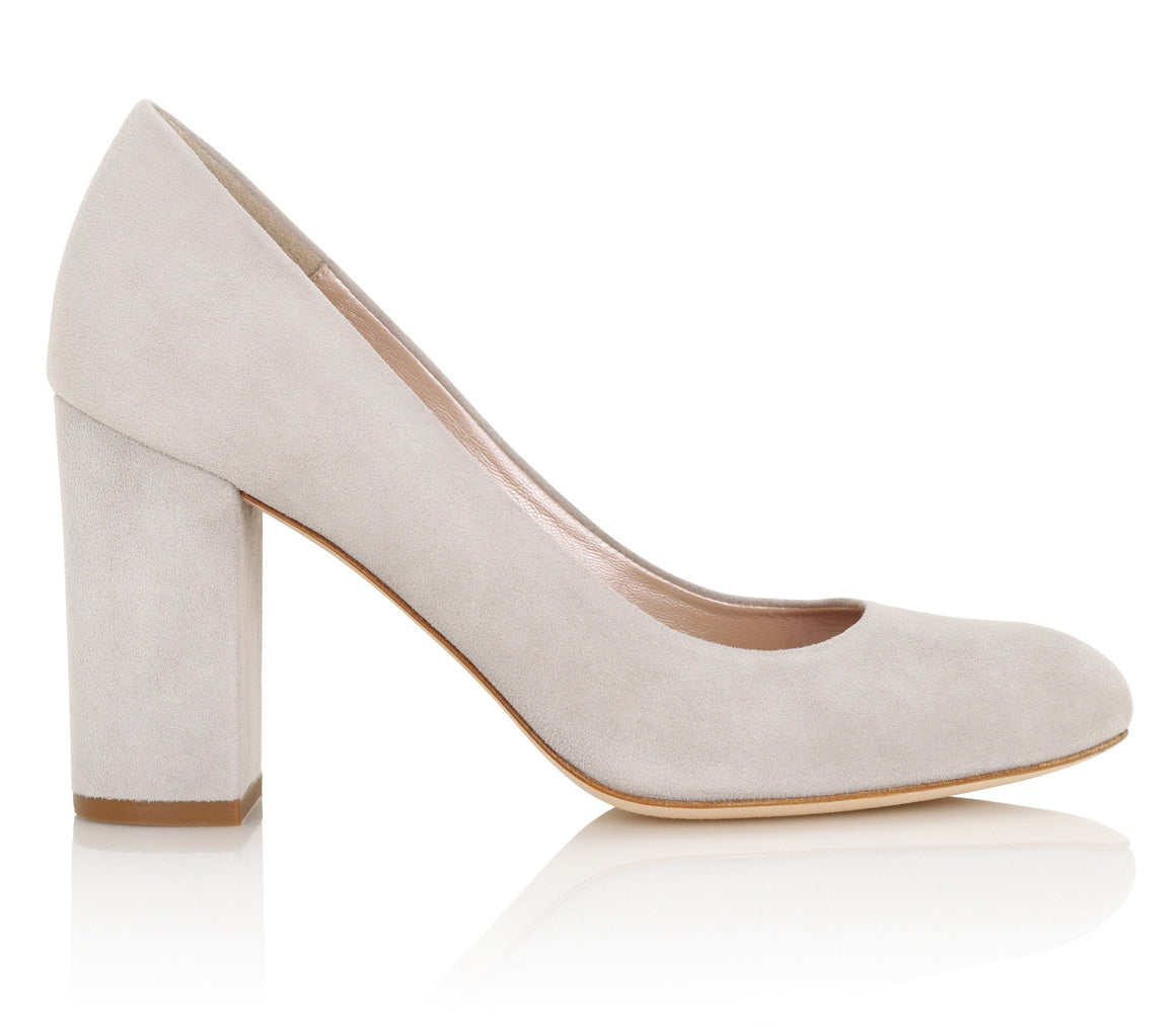 Grey Suede Block Heel Court Shoes Designed By Emmy London