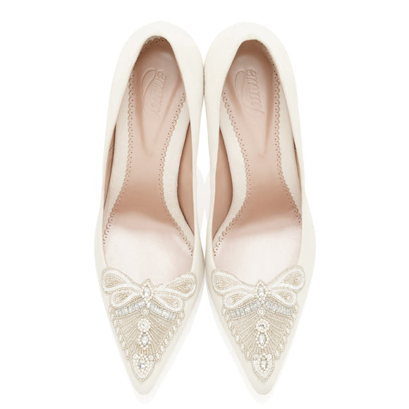 Millie Pointed Wedding Shoe in White with Embellished toe by Emmy London