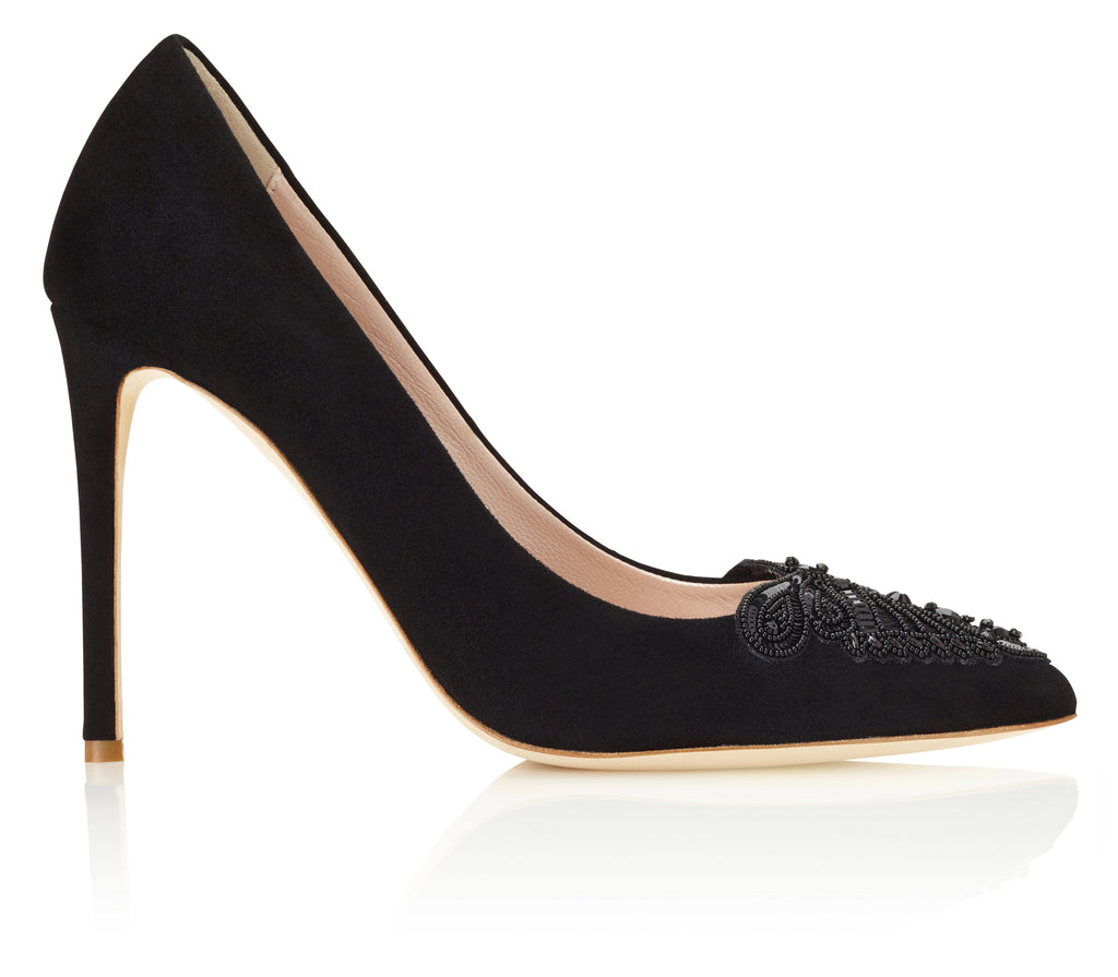 Millie Jet Black Court Shoe Designed in London by Emmy Scarterfield