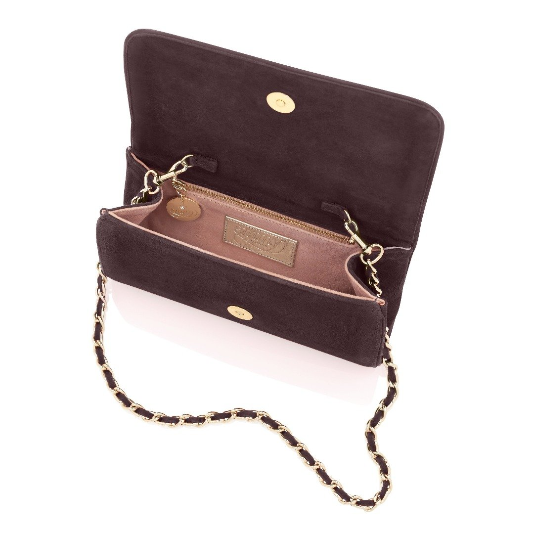 Inside Natasha Mocha Luxury Clutch Bag By Emmy London