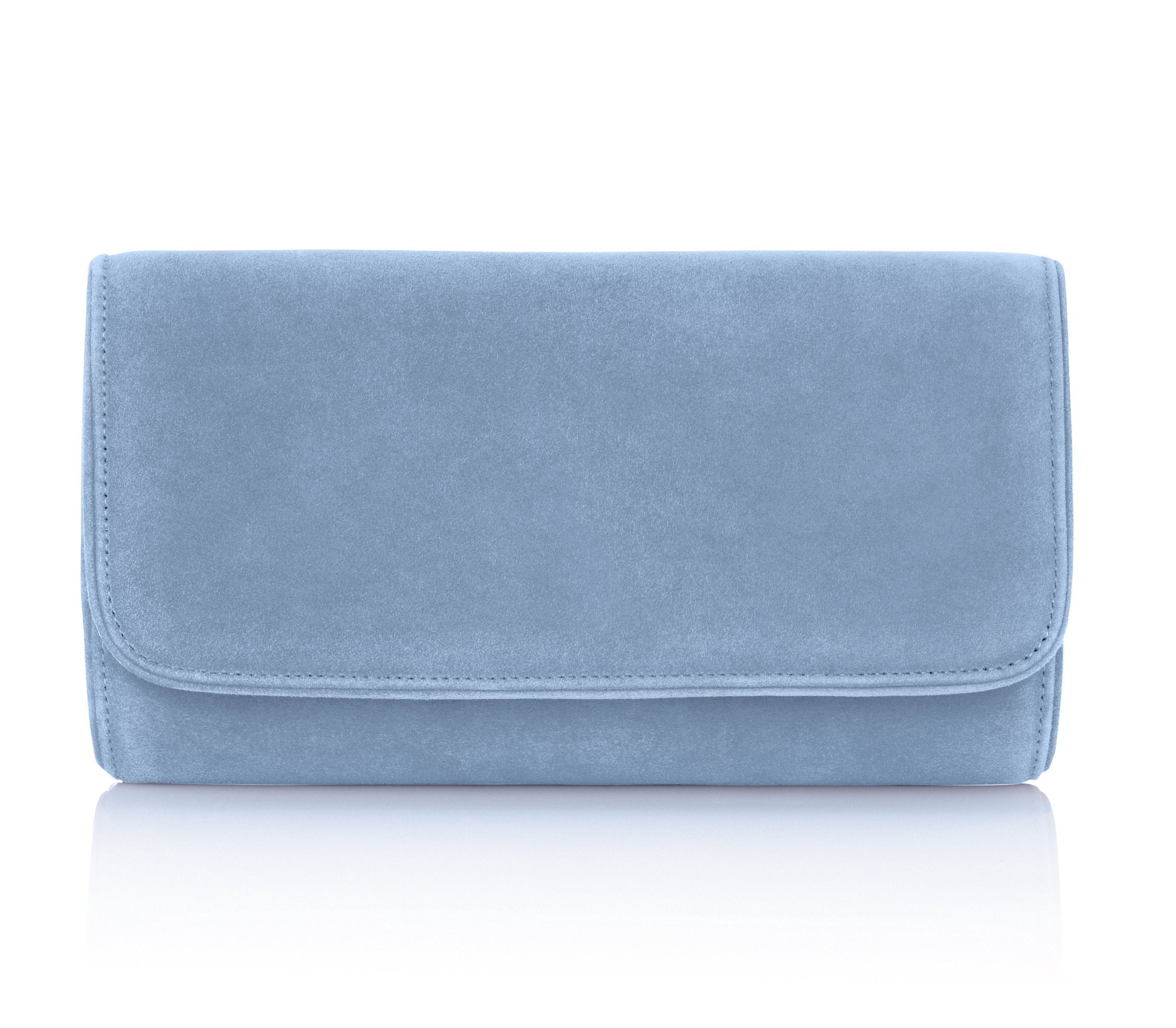 Blue Suede Occasion Clutch Bag By Emmy London