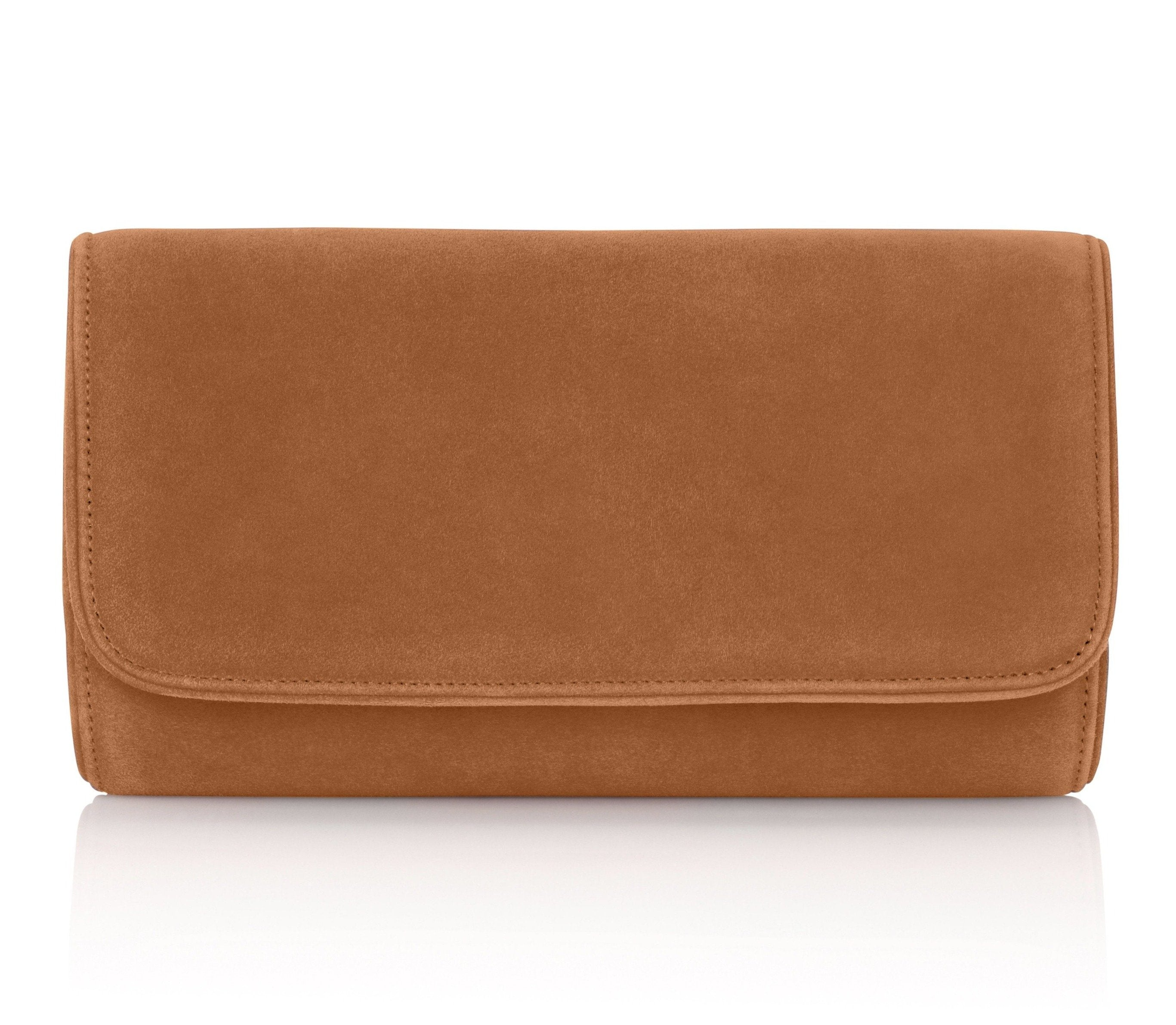 Natasha Clutch Bag in Saddle By Emmy London