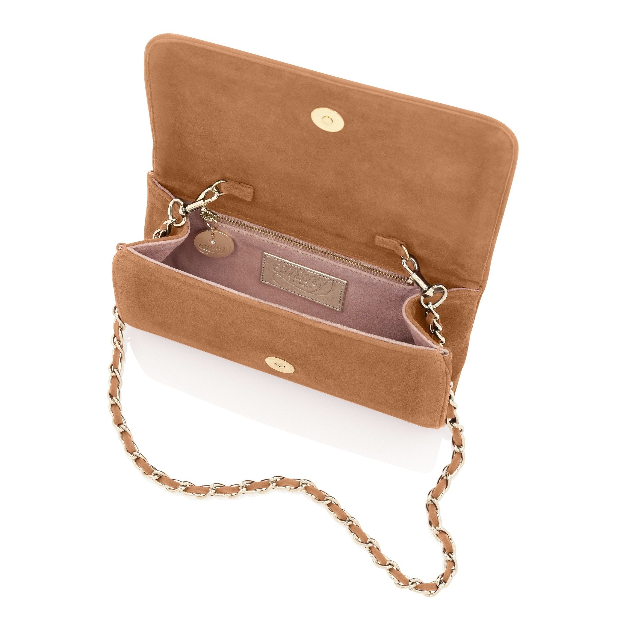 Natasha Clutch Bag in Saddle Inside View By Emmy London