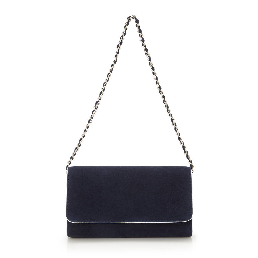 Natasha Midnight - Occasion Accessories - Midnight Kid Suede - Clutch - Bag - Silver Leather Trim