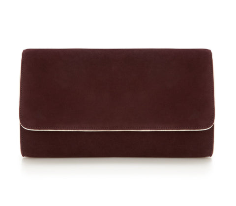 Natasha Claret - Occasion Accessories - Claret Kid Suede - Clutch - Bag - Gold Leather Trim