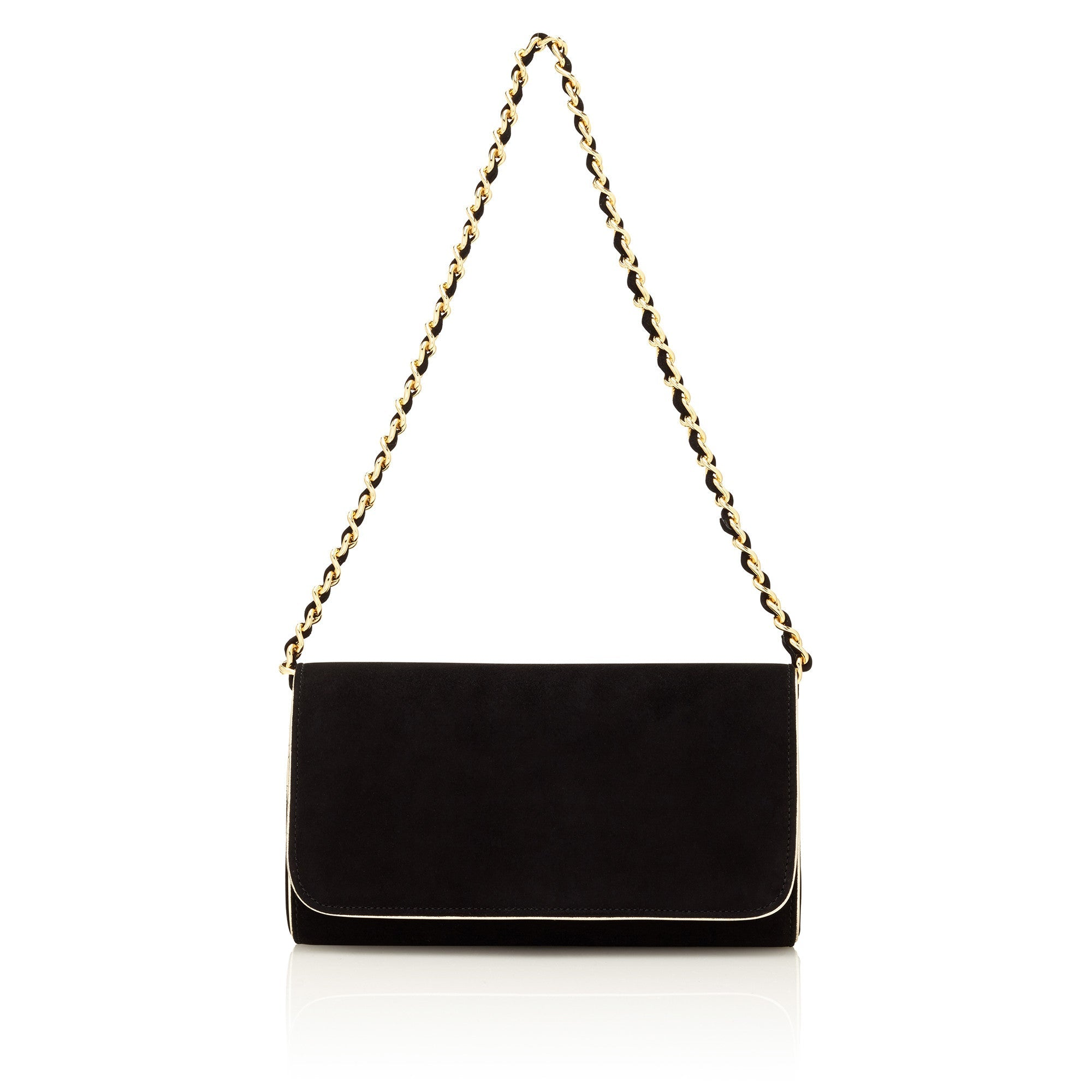 b181e2dbbbee Emmy London Natasha Jet Black Clutch Bag with Gold Chain Strap ...