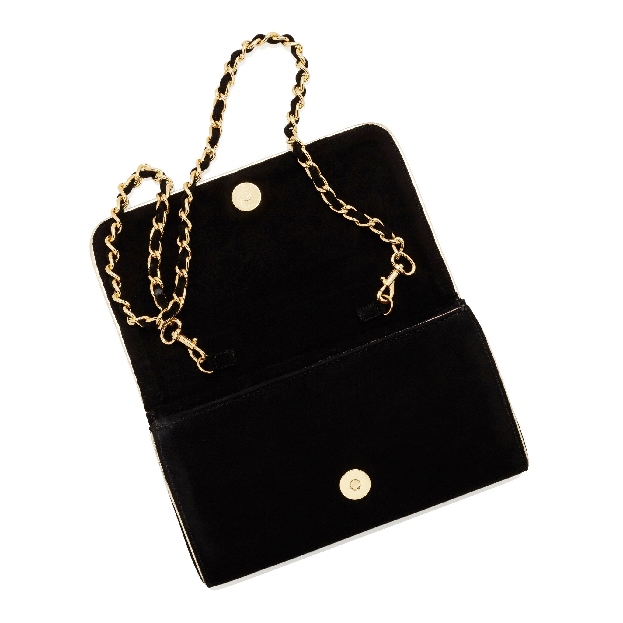 24971a6deb31 ... Emmy London Natasha Jet Black Clutch Bag with Gold Chain Strap ...