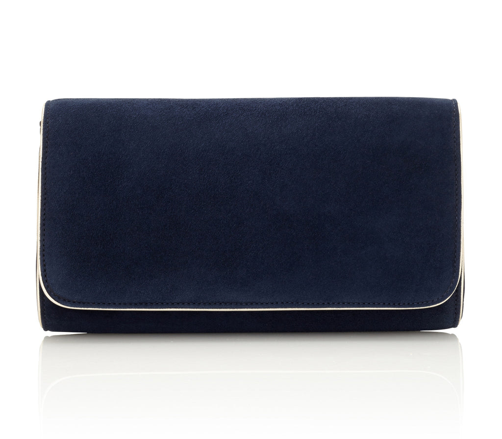 Natasha Midnight Blue Suede Clutch Bag by Emmy London