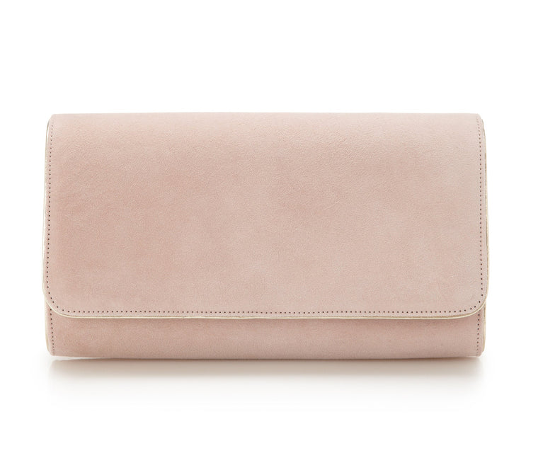 Natasha Misty Rose - Occasion Accessories - Misty Rose Kid Suede - Clutch - Bag - Gold Leather Trim