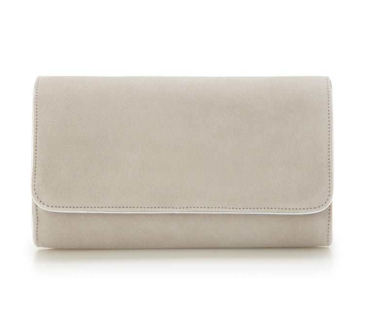 Natasha Vapour - Occasion Accessories - Soft Grey Kid Suede - Clutch - Bag - Leather Trim