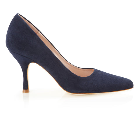 Poppy Midnight - Occasion Shoe - Midnight Blue Kid Suede - Mid Heel - Court Shoe