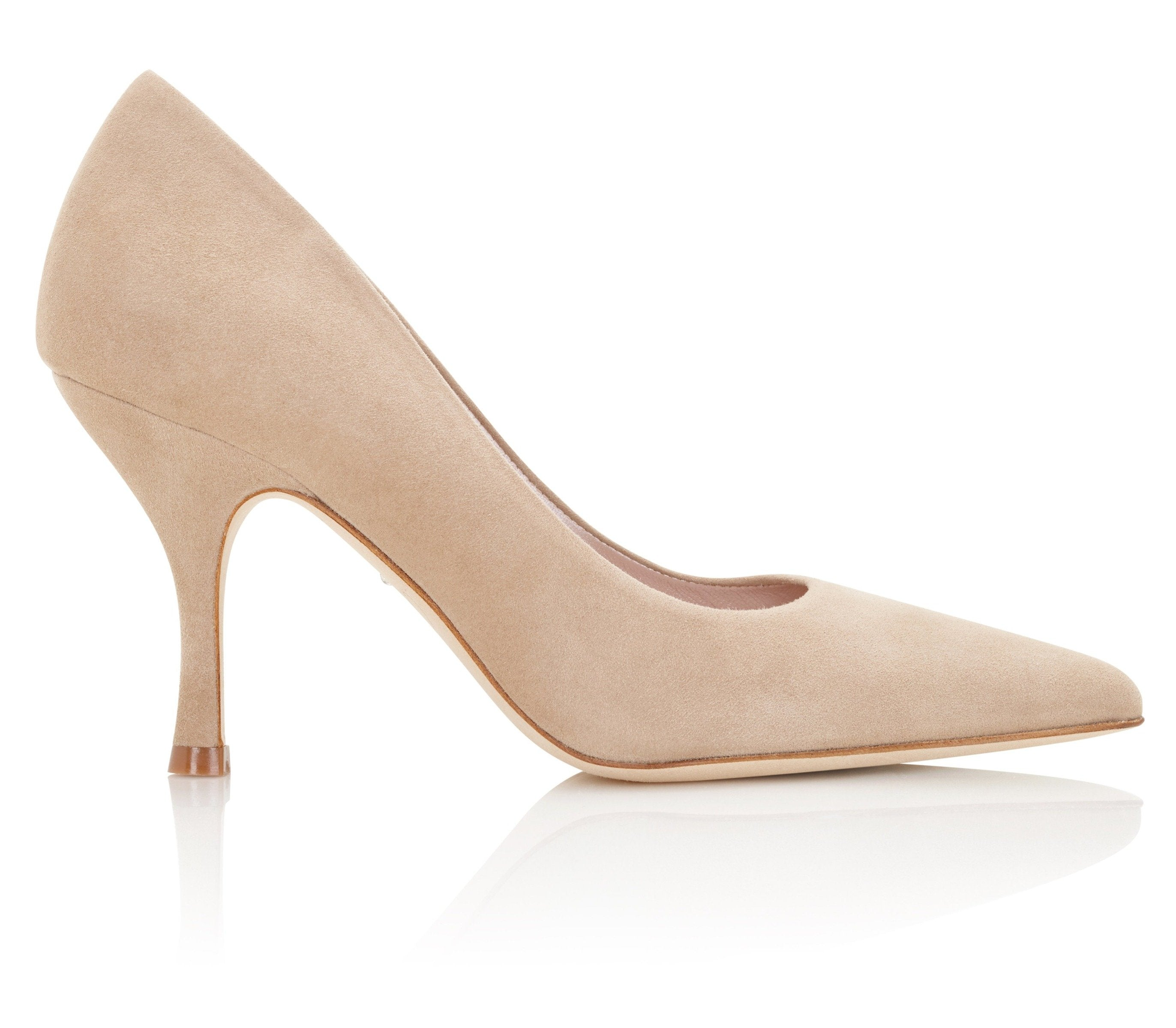 Olivia Biscuit Suede Mid Heel Court Shoes By Emmy London