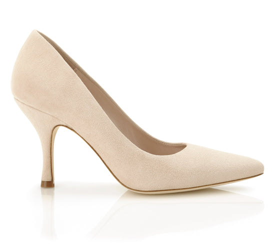 Olivia Blush - Occasion Shoe - Blush Kid Suede - Mid Heel - Court Shoe