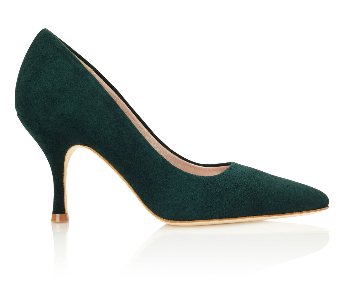 Olivia Greenery Pointed Suede Court Shoe Handmade Designed by Emmy London