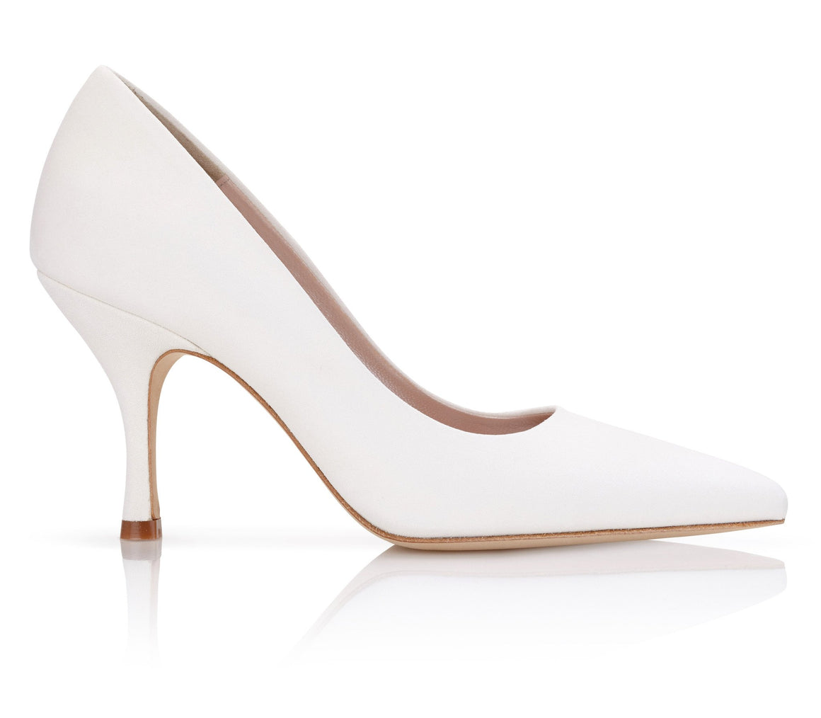Olivia Ivory Pointed Suede Wedding Shoes by Emmy London