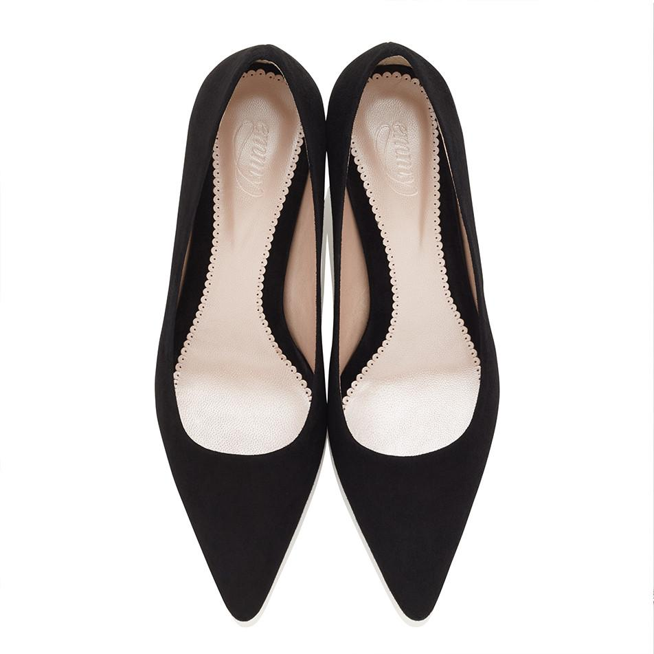 Olivia Kitten Black Jet Kitten Heel Suede Pointed Court Shoe by Emmy Londond