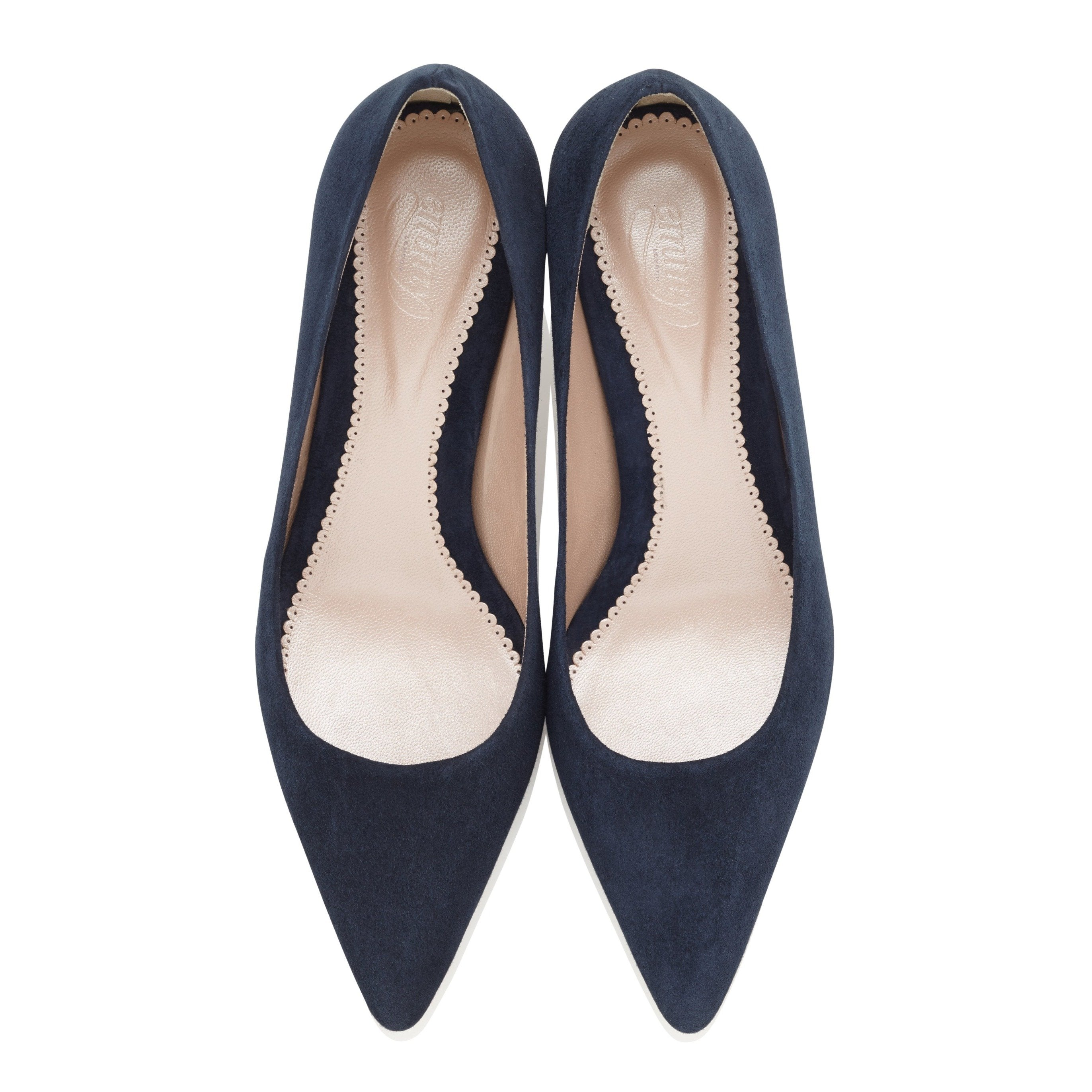 Olivia Kitten Midnight Navy Pointed Kitten Heel Shoes by Emmy London