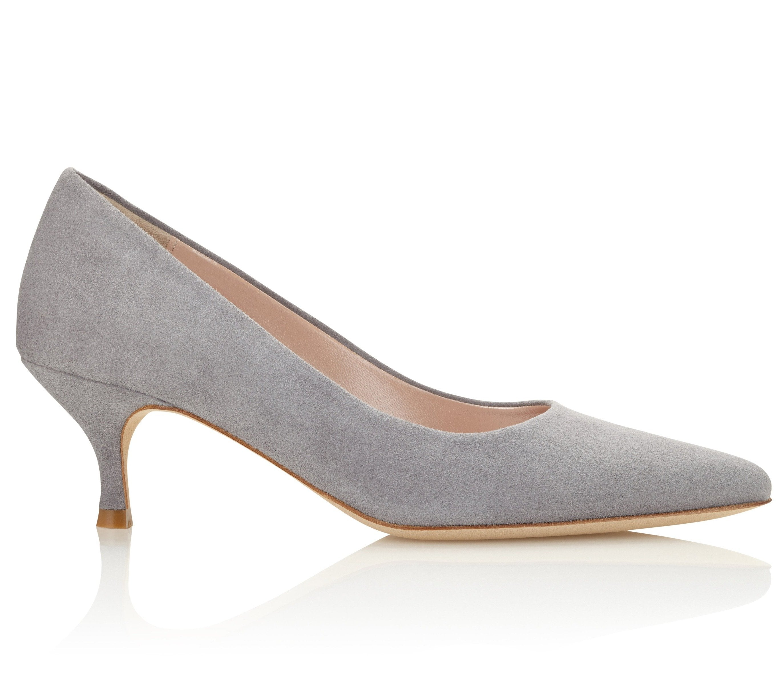 Olivia Kitten heel Suede Court Shoes In Grey Steel Colour By Emmy London