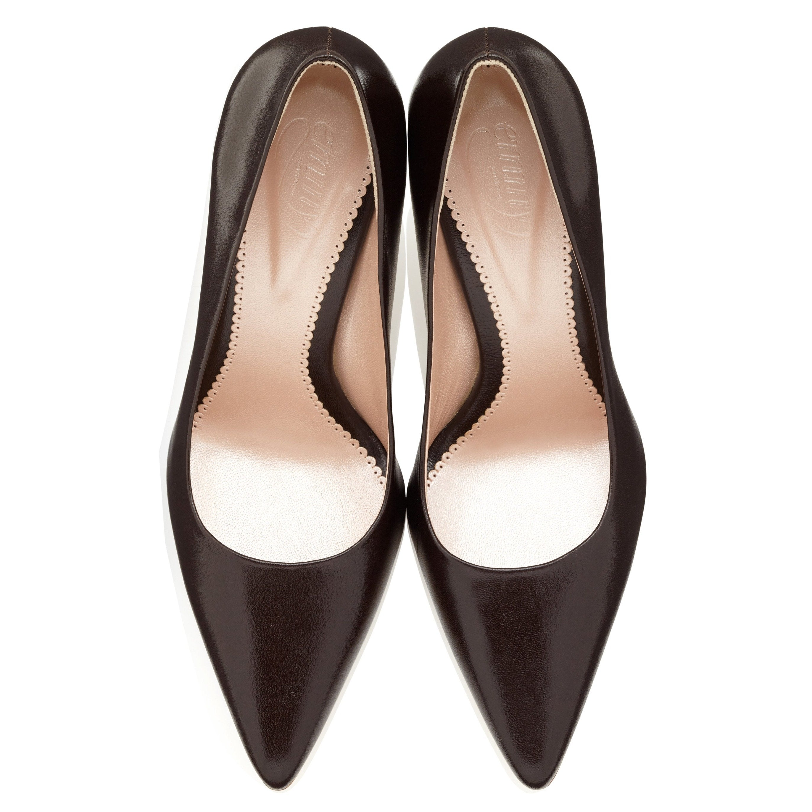 Olivia Leather Chocolate Brown Court Shoe Designed in London By Emmy London Handmade Luxury Leather