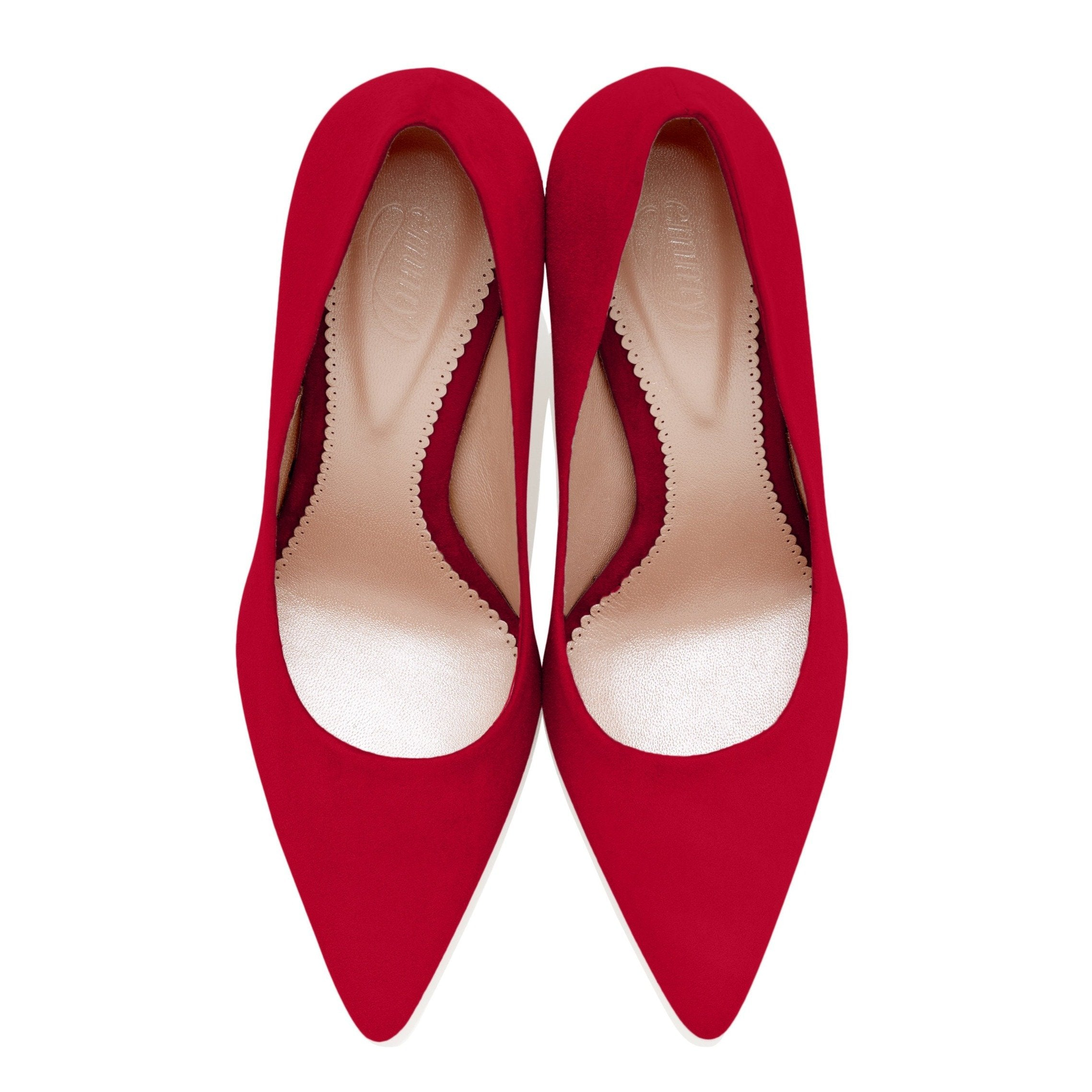 Lipstick Red Suede Court Shoes Designed In London By Emmy Scarterfield