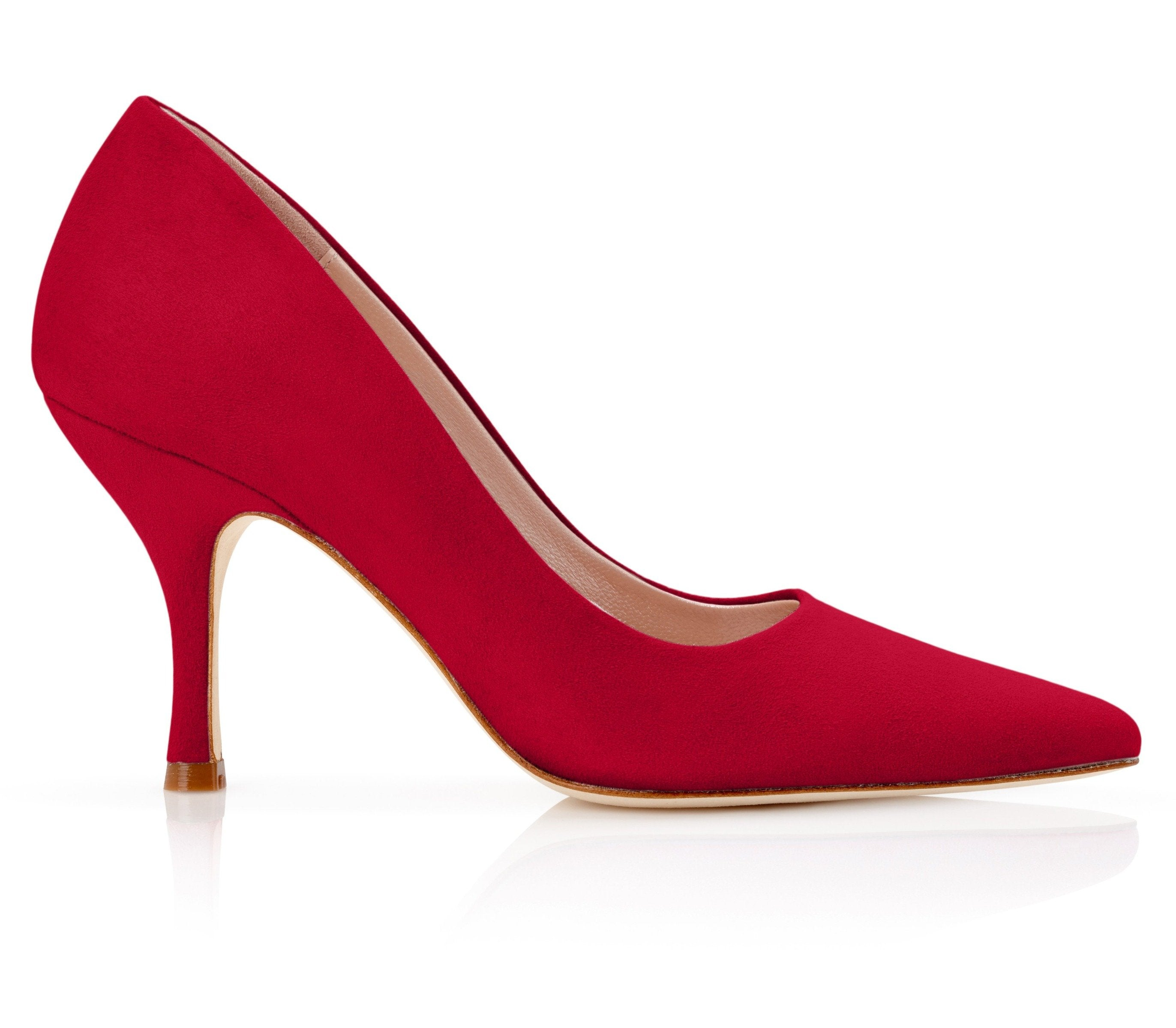 Olivia Lipstick Bright Red Court Shoes By Emmy London