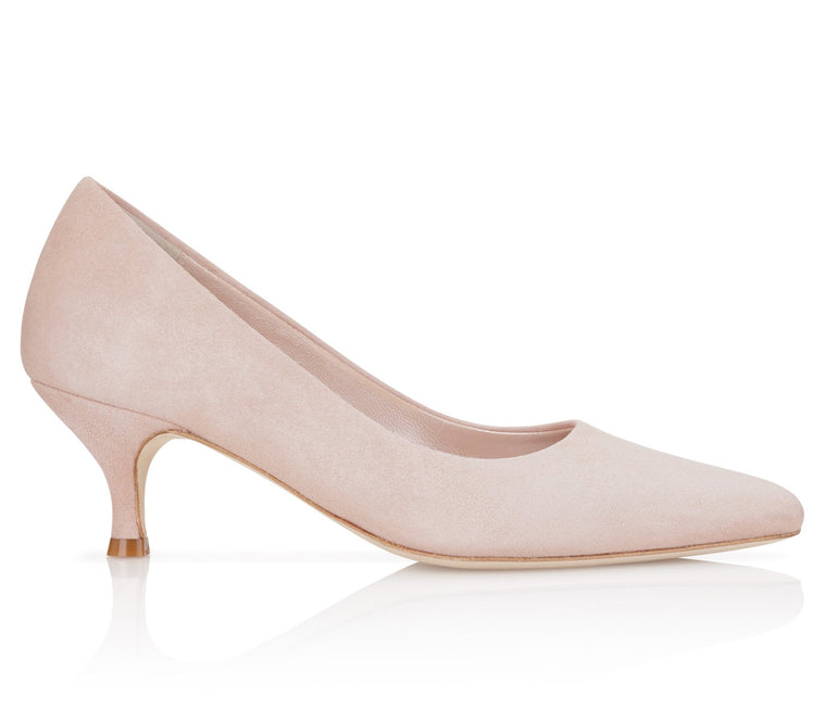 Rose Pink Suede Court Shoe with Kitten Heel Designer shoes By Emmy London