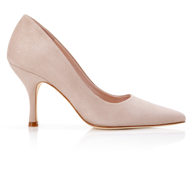 Olivia Misty Rose Occasion Court Shoe In a Light Pink Suede by Emmy London