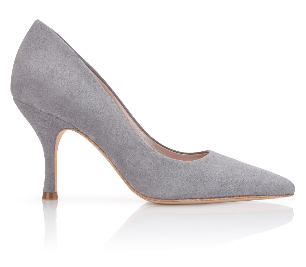 Olivia Steel Emmy London Grey Pointed Court Shoe