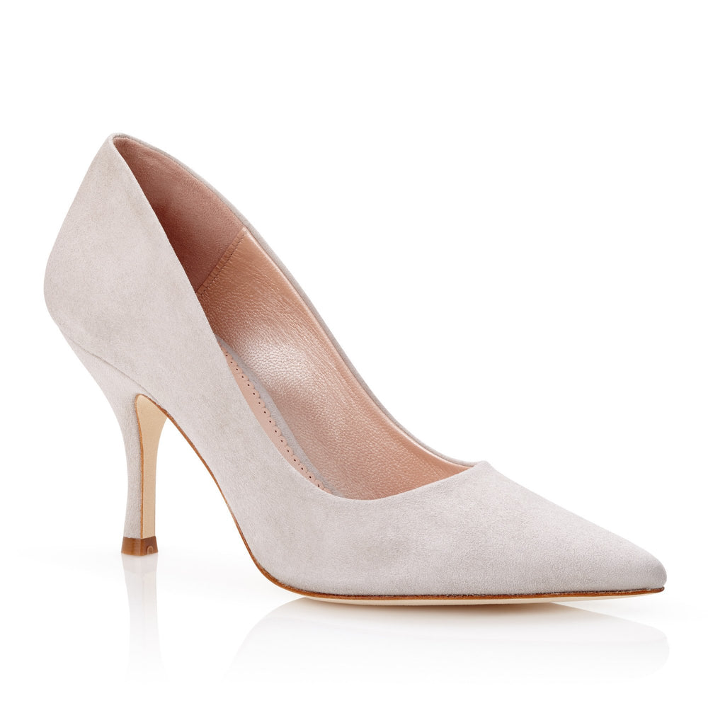 Olivia Vapour Court Shoes Light Grey Suede Mid Heel Emmy London