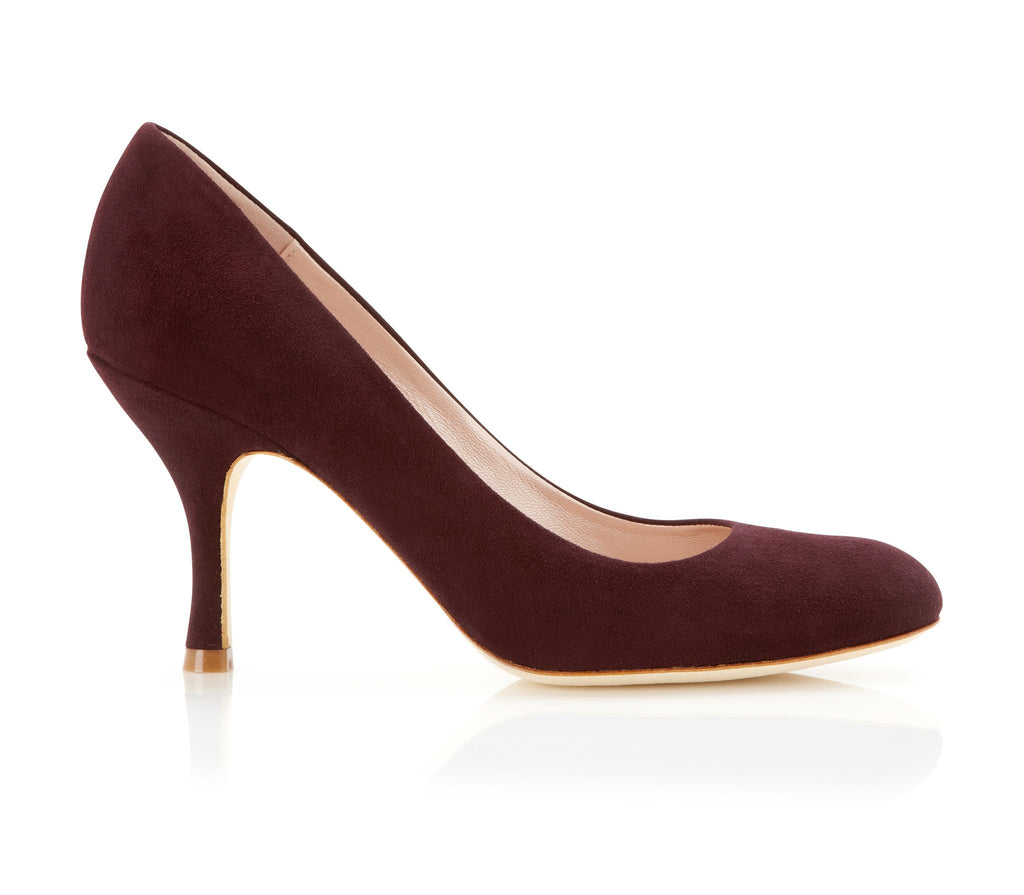 Poppy Claret - Occasion Shoe - Claret Red Kid Suede - Mid Heel - Court Shoe