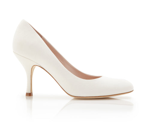 Poppy - Bridal Shoe - Ivory Kid Suede - Mid Heel - Court Shoe