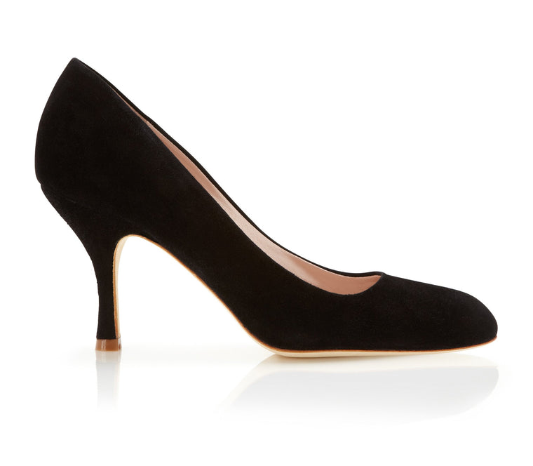 Poppy Jet - Occasion Shoe - Jet Black Kid Suede - Mid Heel - Court Shoe