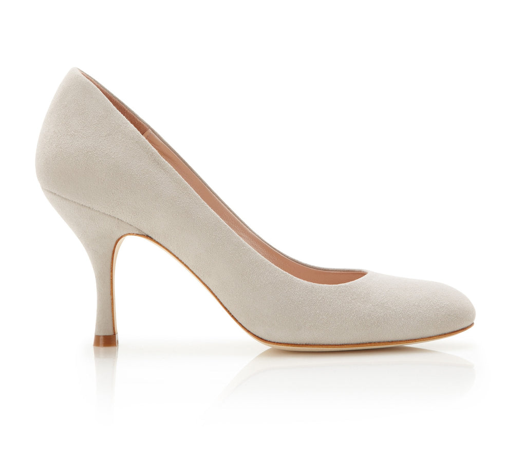 Poppy Vapour - Occasion Shoe - Grey Kid Suede - Mid Heel - Court Shoe