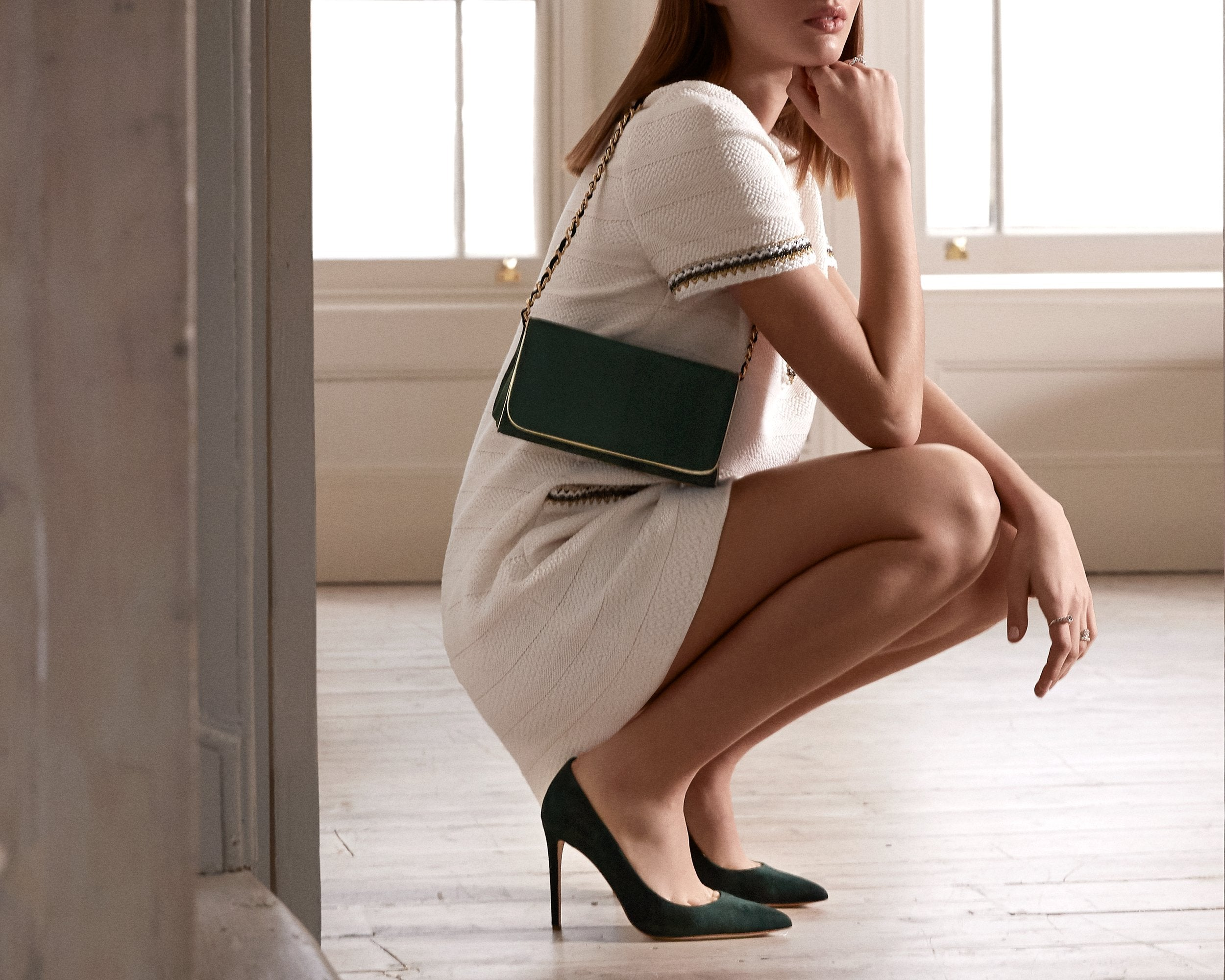 Rebecca Greenery Court Shoes And Clutch Bag By Emmy London