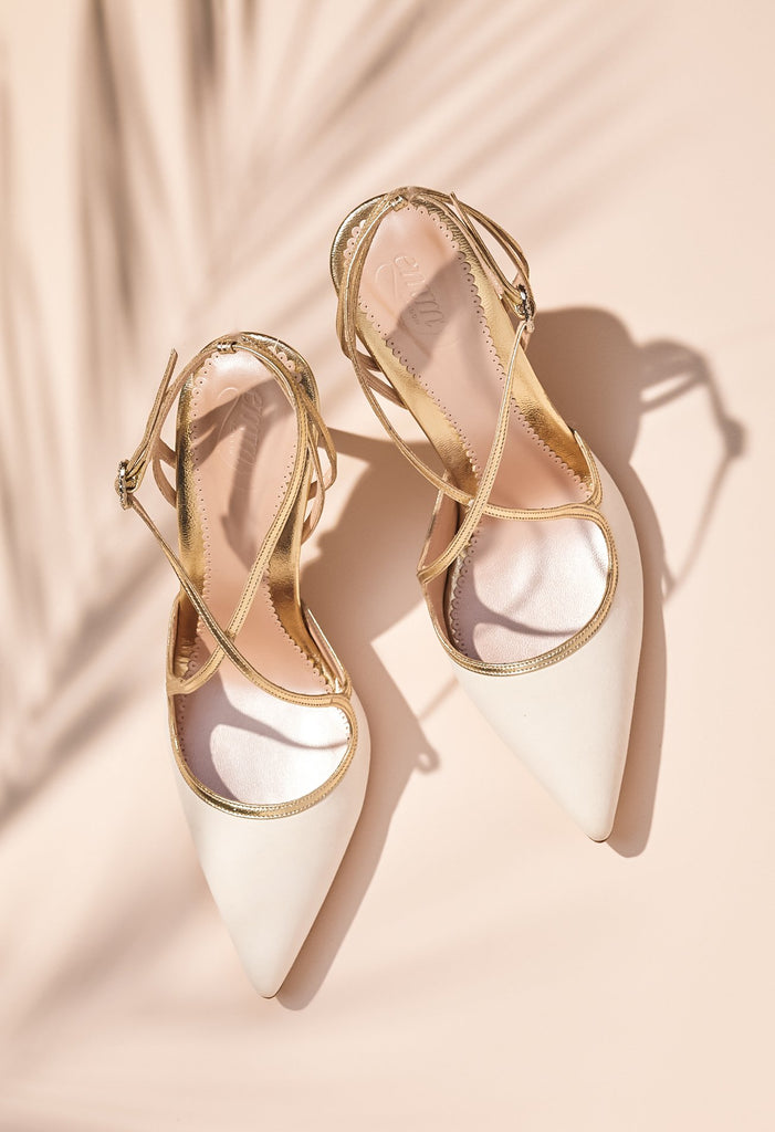 Rose Gold Wedding Shoes by Emmy London Ivory and Gold Suede Wedding Sandals