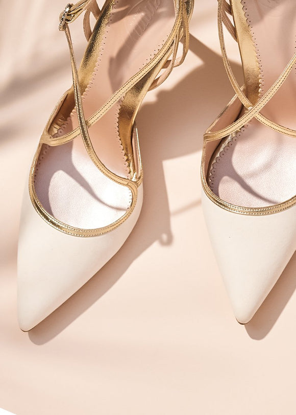 Emmy London Rose Kitten Ivory and Gold Bridal Shoe