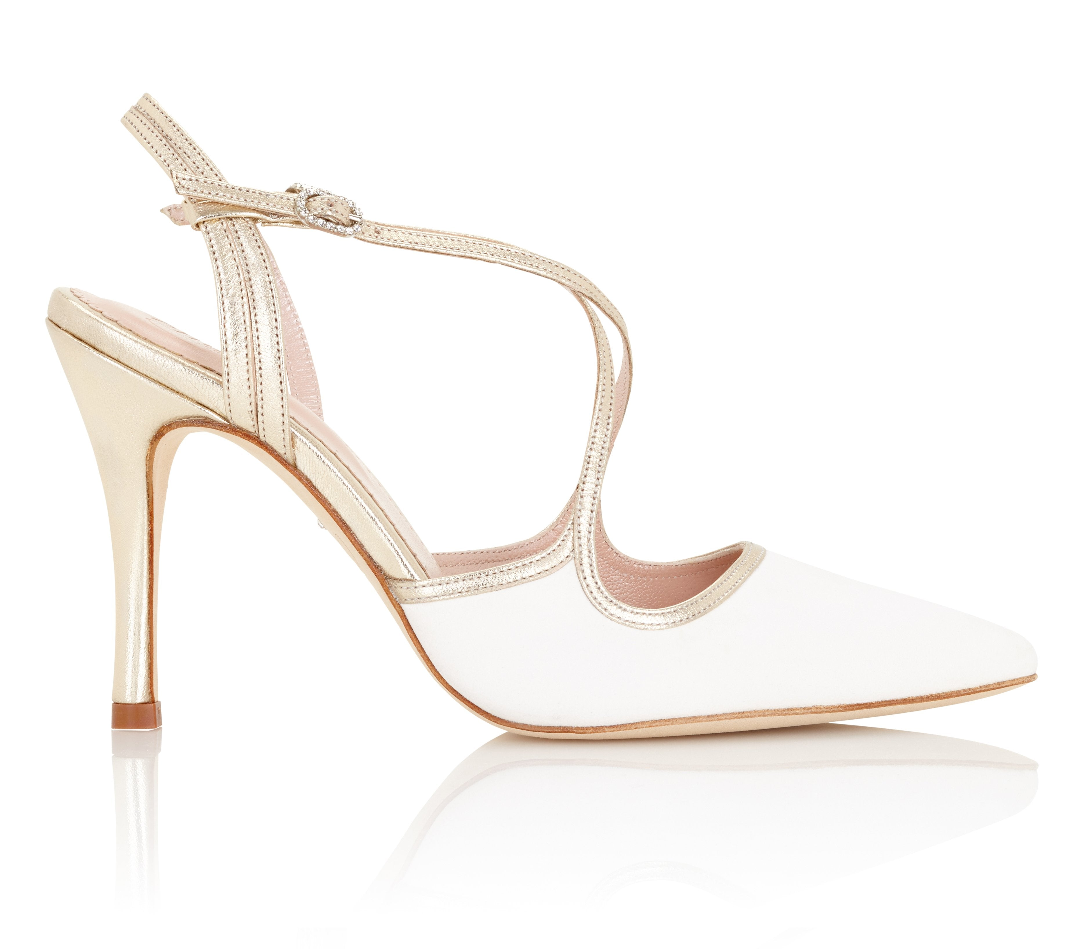 Rose Ivory Suede High Heel Wedding Shoes by Emmy London Ivory and Gold Suede Wedding Sandals