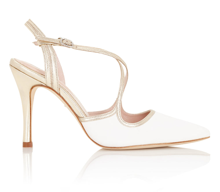 27344be9da99 Rose Ivory Suede High Heel Wedding Shoes by Emmy London Ivory and Gold Suede  Wedding Sandals ...