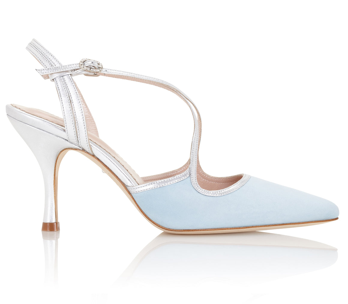 Rose Duck Egg Light Blue Sandal Handmade by Emmy London Designed in London