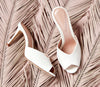 Ruby Bridal Mule in Ivory Suede Designed By Emmy London