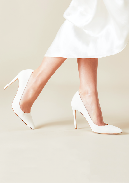 Emmy London Rebecca Ivory Pointed Bridal Court Shoes